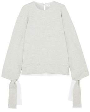 Victoria, Victoria Beckham Cutout Melange Cotton-blend Jersey Sweatshirt