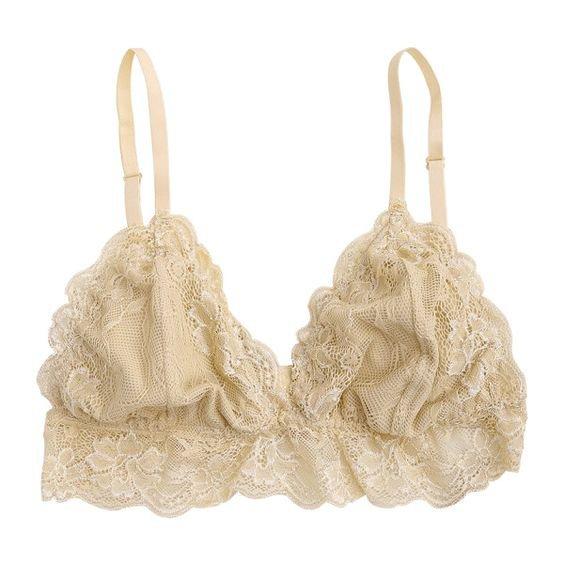 cream lacy bra