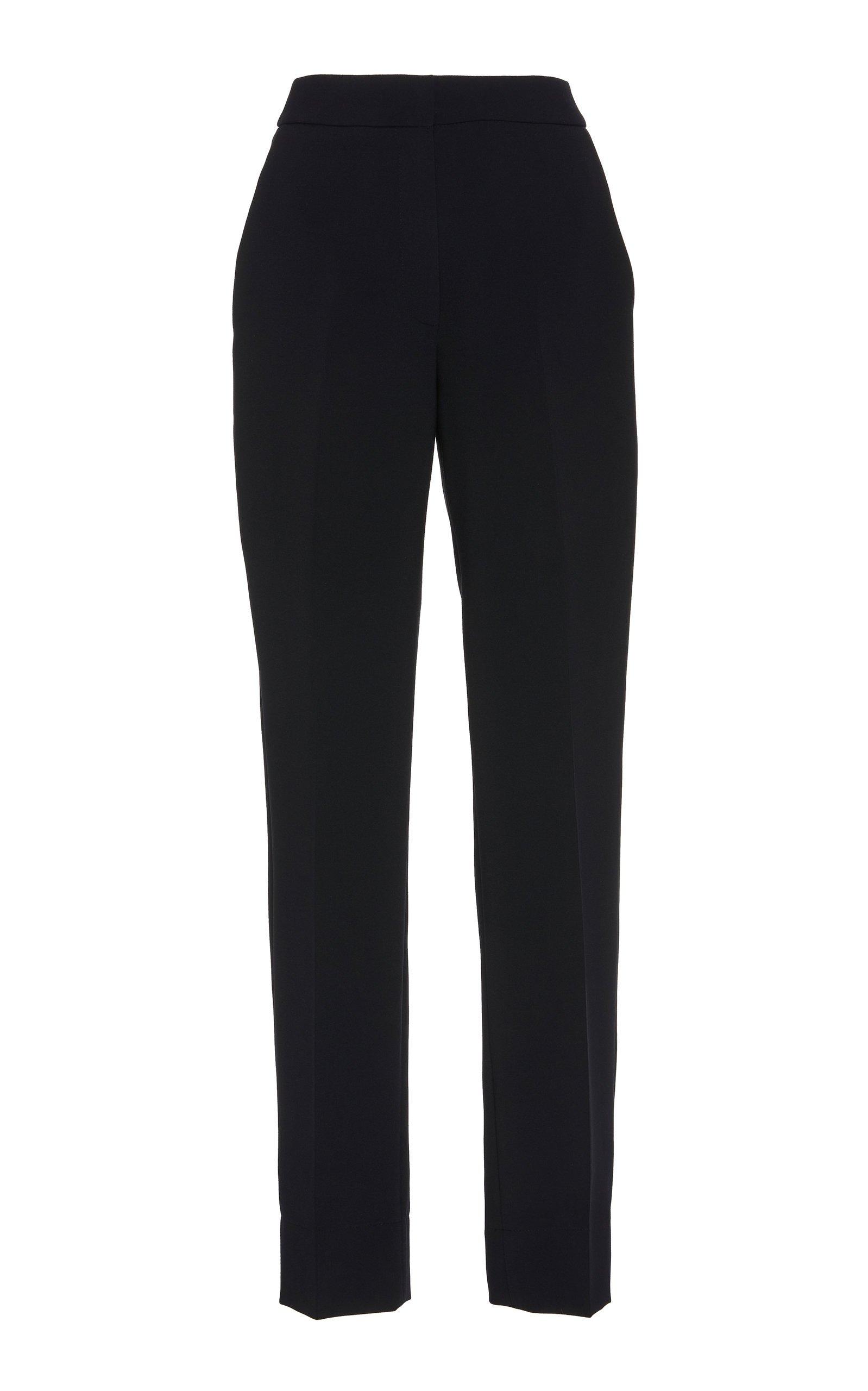 Marchesa High-Waist Crepe Straight-Leg Pants