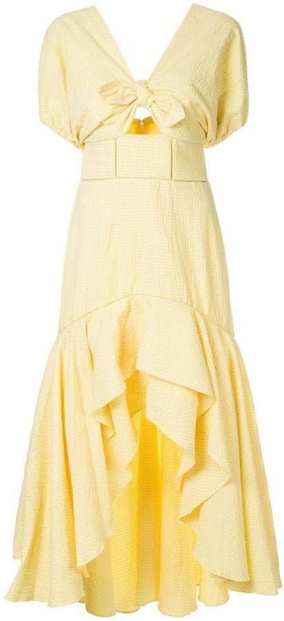 off-shoulder gingham dress