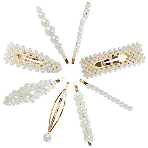Amazon.com : Pearls Hair Clips for Women Girls - Etmury Sweet Artificial Pearl Hair Pins Clips Barrette, Hair Accessories for Party Birthday Valentines Day Gifts (8pcs) : Beauty