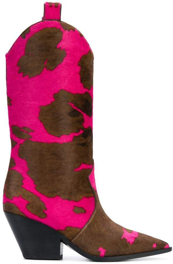 cow pattern cowboy boots