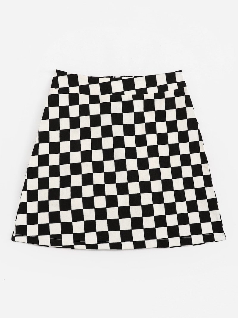 Zip Up Plaid Skirt | ROMWE