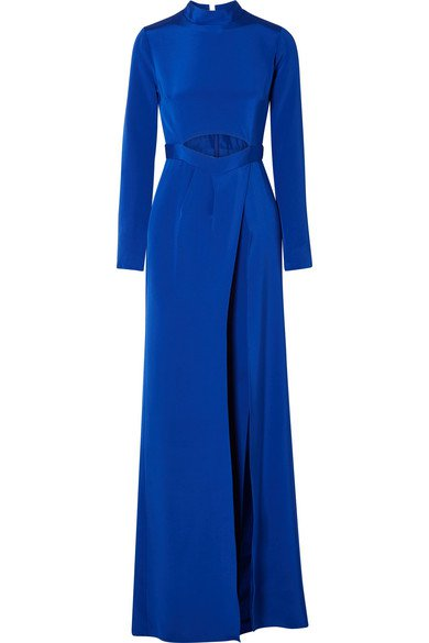 Burnett New York | Cutout layered silk-crepe wide-leg jumpsuit | NET-A-PORTER.COM