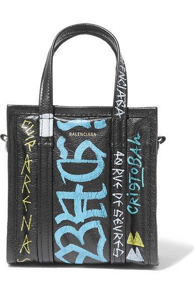 Balenciaga   Bazar XXS Graffiti printed textured-leather tote   NET-A-PORTER.COM