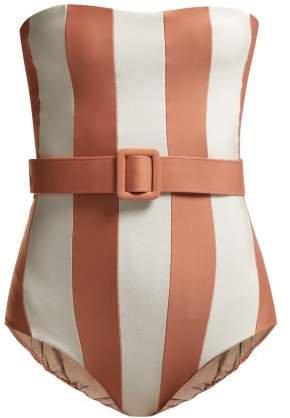 Adriana Degreas - Porto Striped Strapless Swimsuit - Womens - Pink White