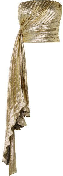Reem Acra - Draped Pleated Silk-blend Lamé Bustier Top - Gold