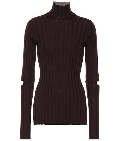 Ribbed turtleneck wool sweater