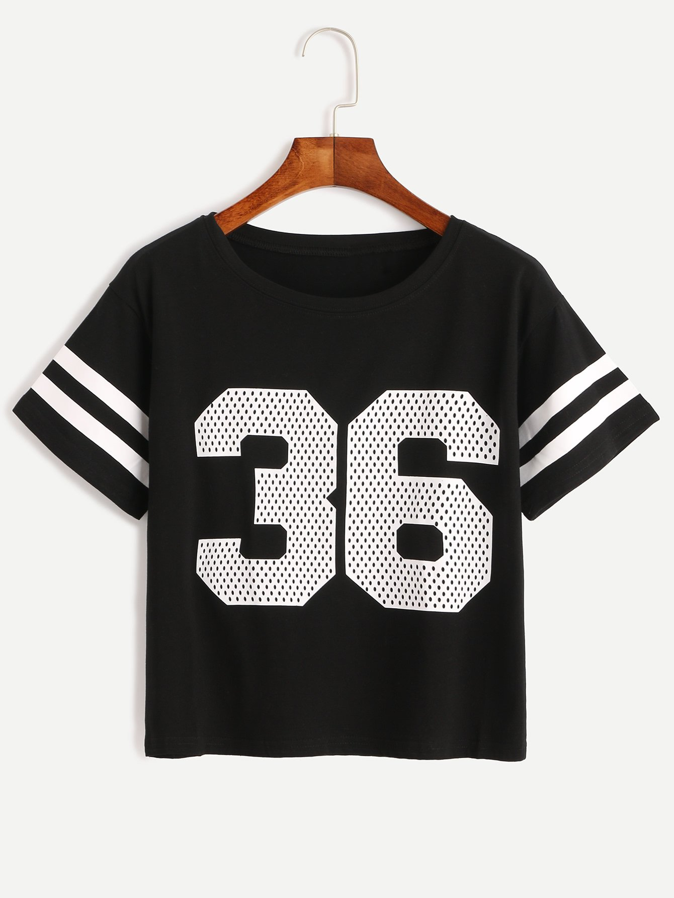 Number Print Striped Sleeve T-shirt