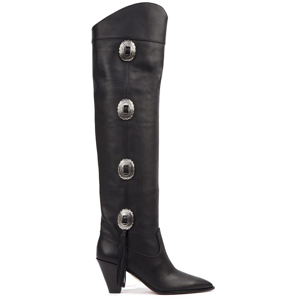 Aquazzura Black Leather Go West Boots