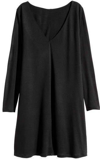 Jersey V-neck Dress - Black