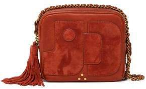 Pascal Suede-appliqued Tasseled Leather Shoulder Bag