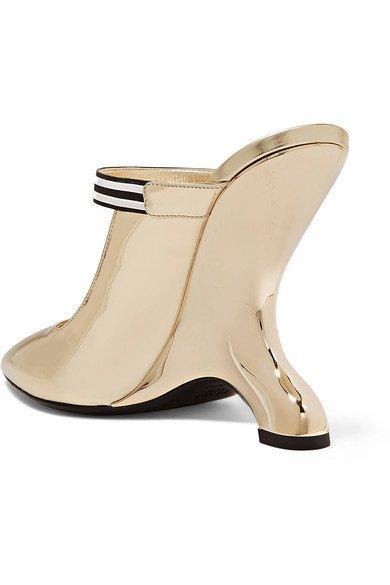 Prada   110 logo-appliquéd mirrored-leather mules   NET-A-PORTER.COM