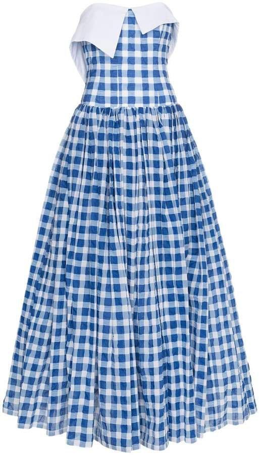 Gingham Strapless Maxi Dress