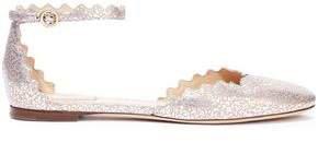 Lauren Scalloped Metallic Cracked-leather Ballet Flats