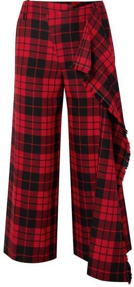 Cropped Tartan Wool Wide-leg Pants - Red