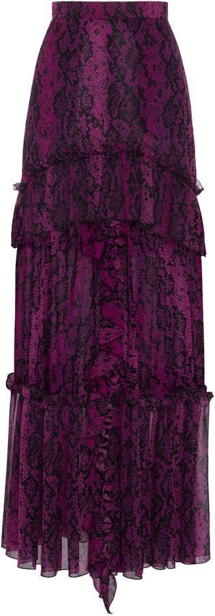 Dundas Python-Print Silk Ruffled Maxi Skirt Size: 36