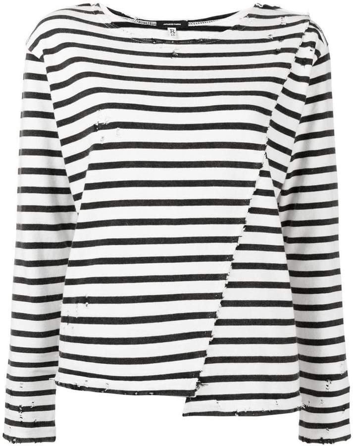 asymmetric stripe T-shirt