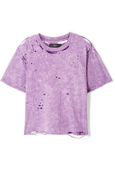 AMIRI | Cropped distressed cotton-jersey T-shirt | NET-A-PORTER.COM