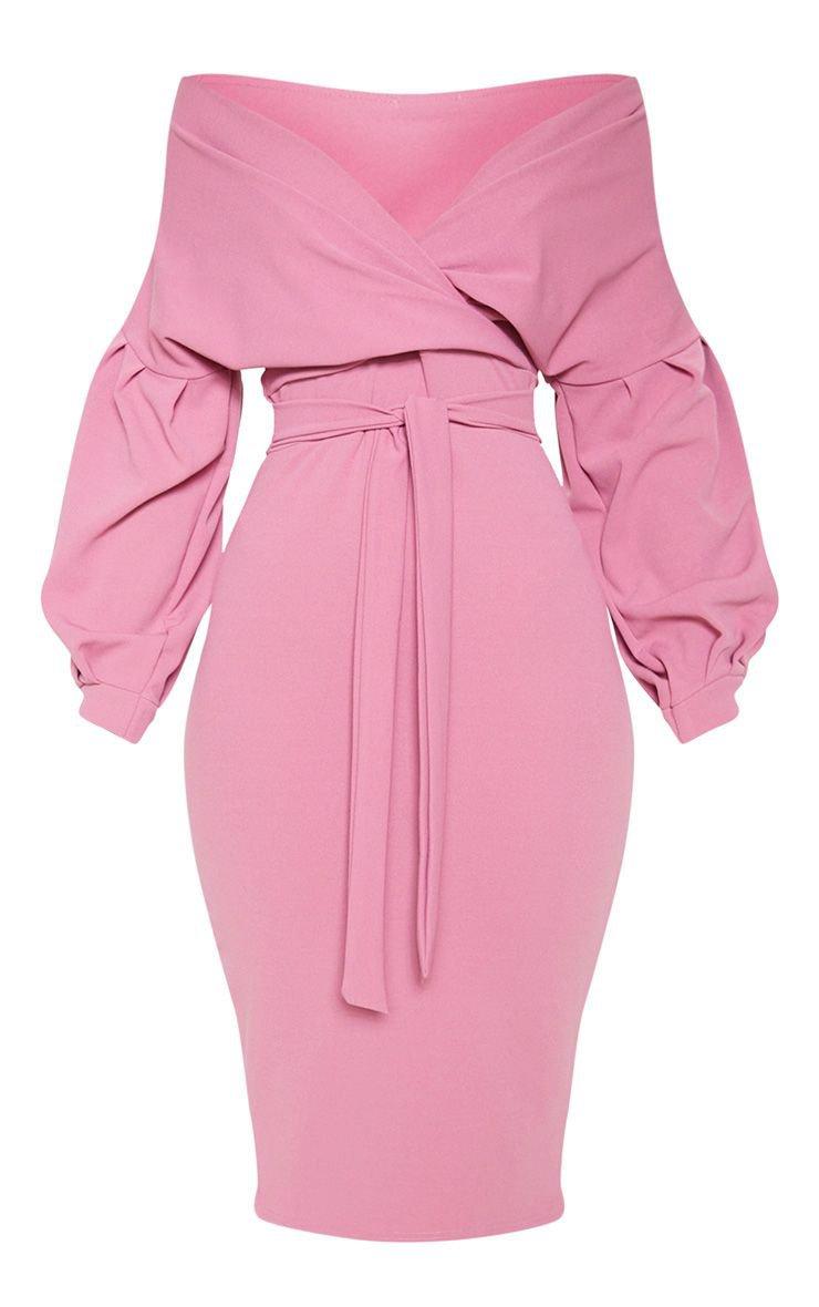 Washed Violet Wrap Tie Waist Puff Sleeve Midi Dress | PrettyLittleThing USA