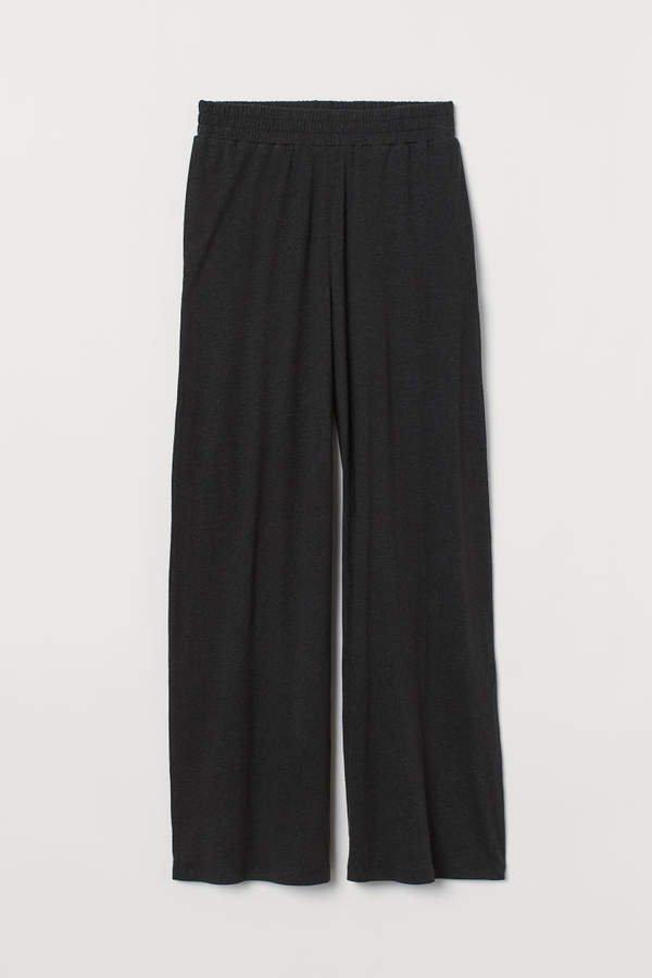 Wide-cut Linen-blend Pants - Black