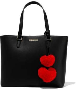 Pompom-embellished Faux Leather Tote