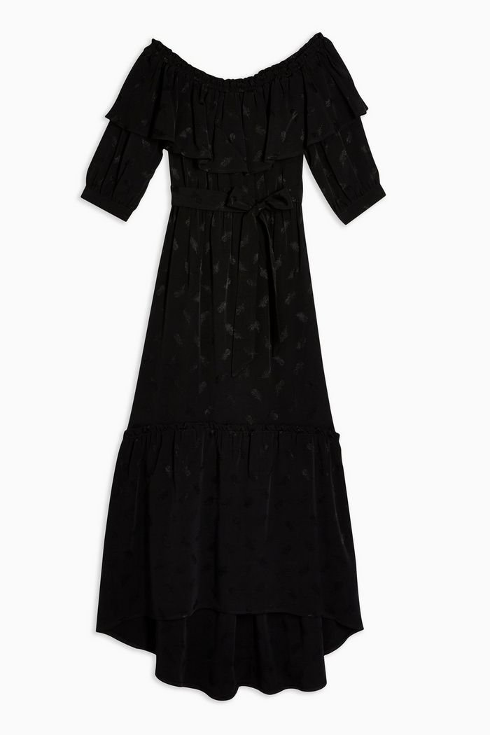 Jacquard Bardot Dress Black | Topshop