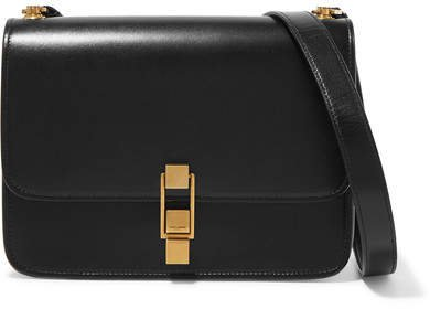 Carre Leather Shoulder Bag - Black