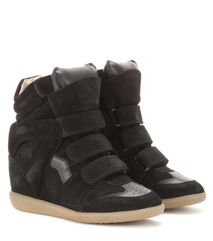 Étoile Bekett leather and suede wedge sneakers