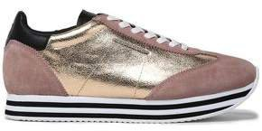 Metallic Textured-leather And Suede Sneakers