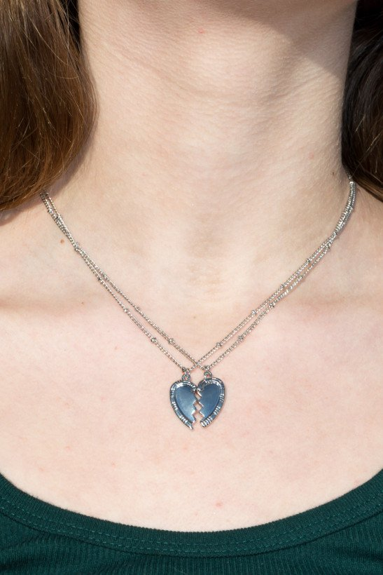 Silver Split Heart Necklaces - Necklaces - Jewelry - Accessories