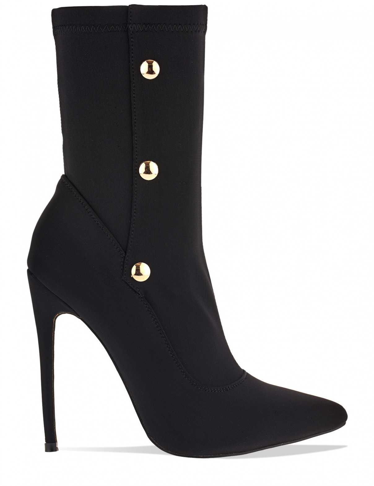 Unfoolish Stiletto Stretch Sock Ankle Boots With Popper Detail In Black Lycra - Buscar con Google