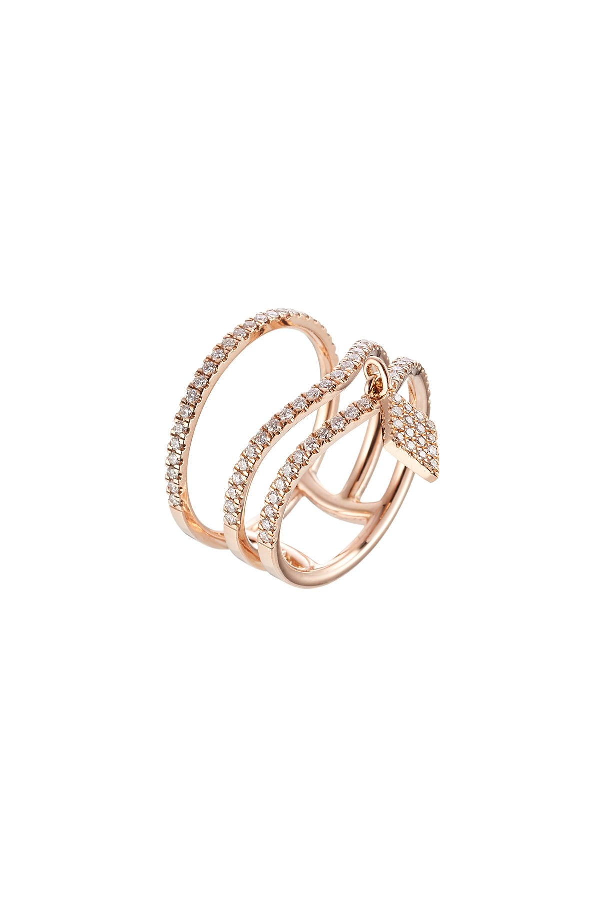 18kt Rose Gold Ring with White Diamonds Gr. 6