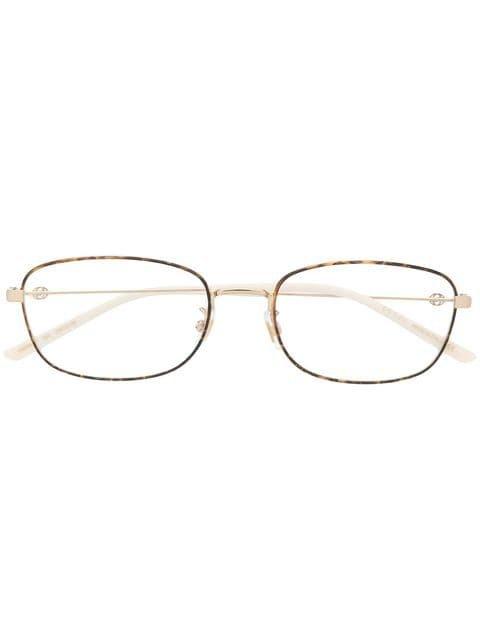 Gucci Eyewear thin tortoiseshell square frame glasses