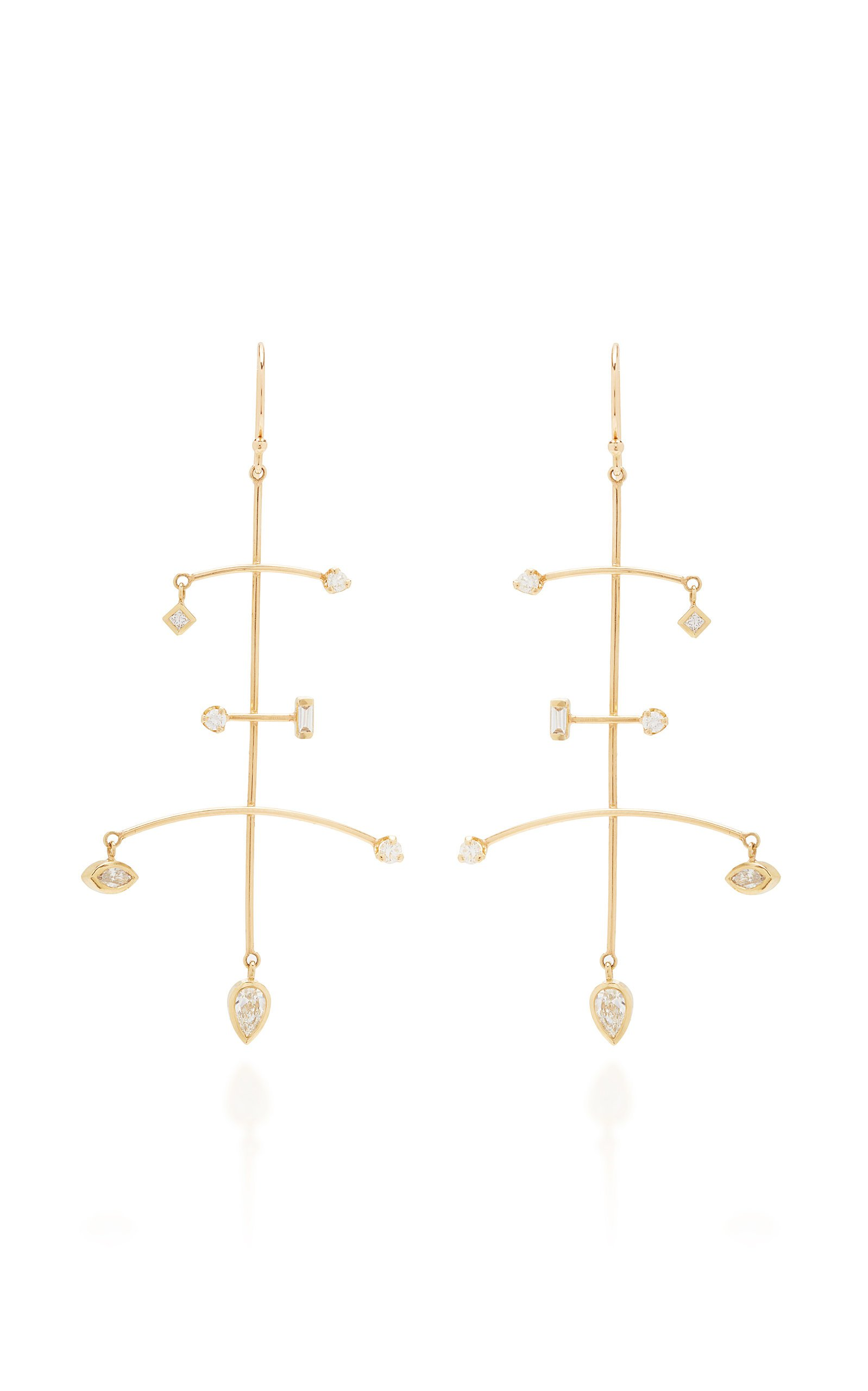 Zoe Chicco 14K Large Mobile Earring With Mixed Fancy Cut Diamonds