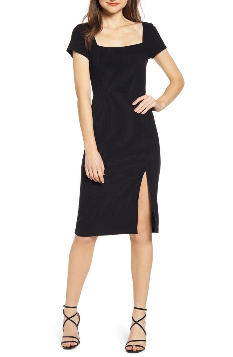 All in Favor Ribbed Square Neck Dress | Nordstrom
