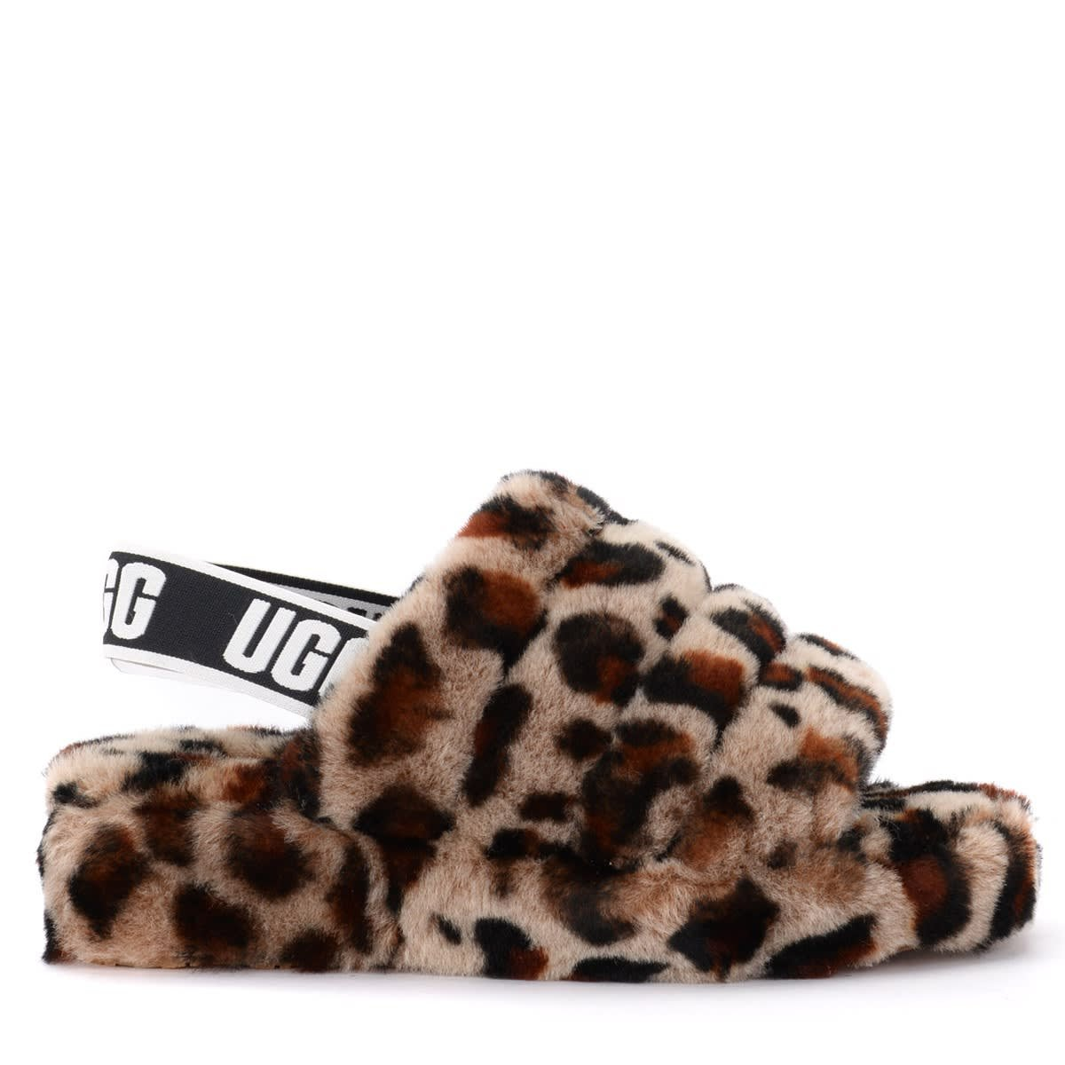 Ugg Fluff Yeah Sandal Slipper Made Of Soft Leopard Leather