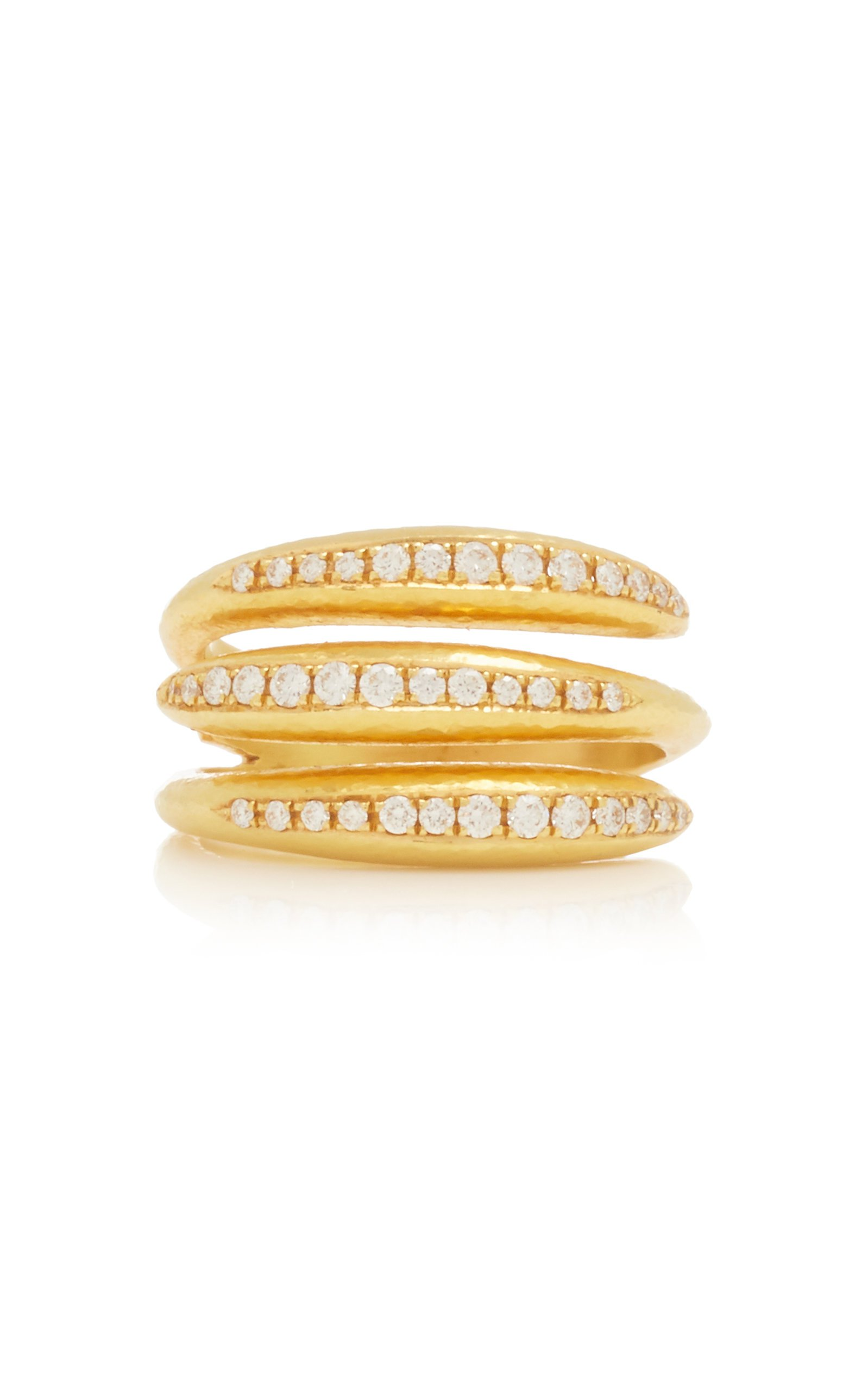 Ilias Lalaounis 18K Gold Cycladic Stacked Ring with Diamonds