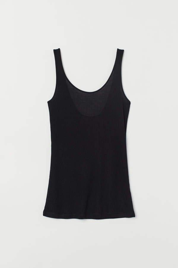 Silk-blend Tank Top - Black