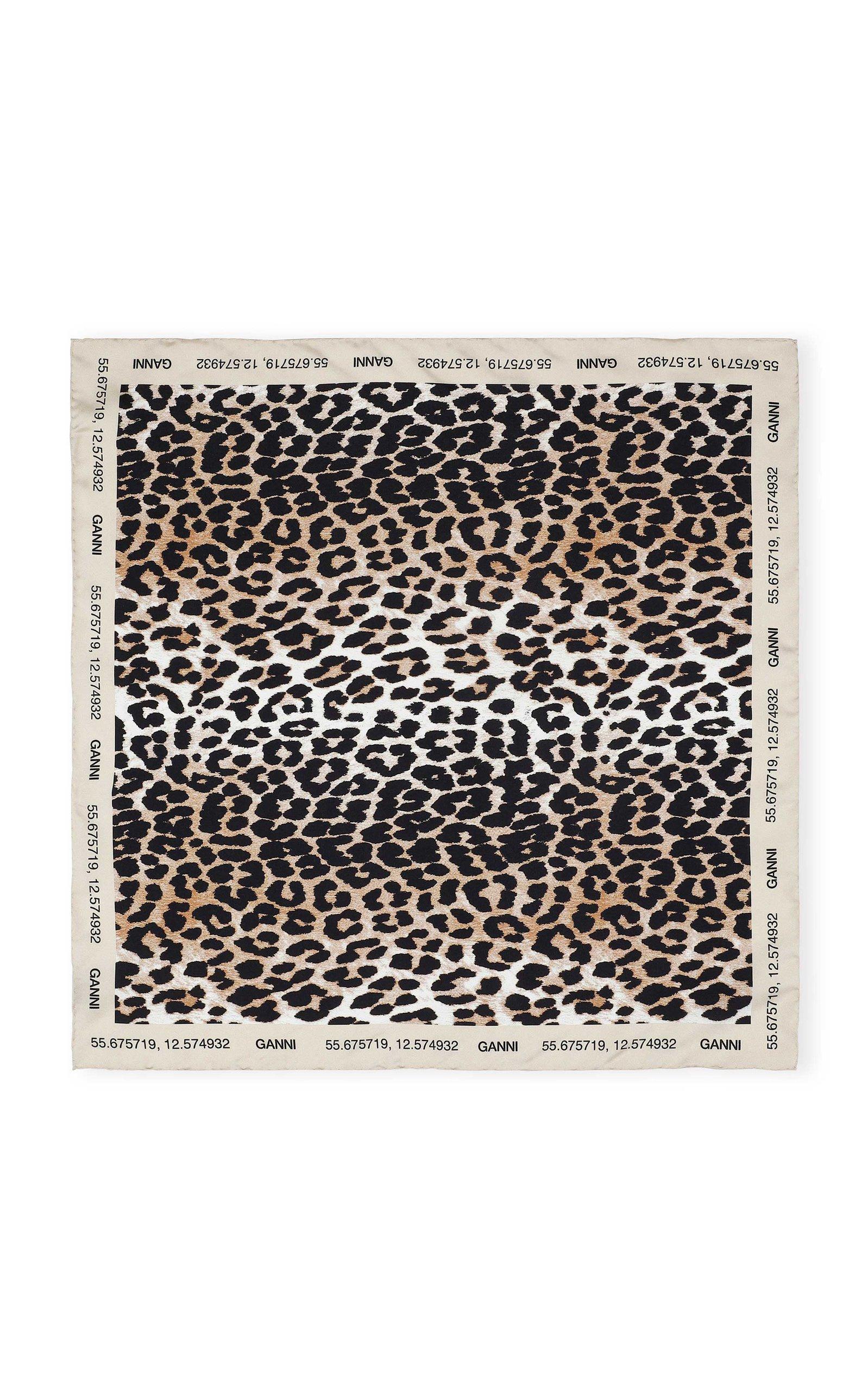 Ganni Leopard-print Silk Twill Scarf