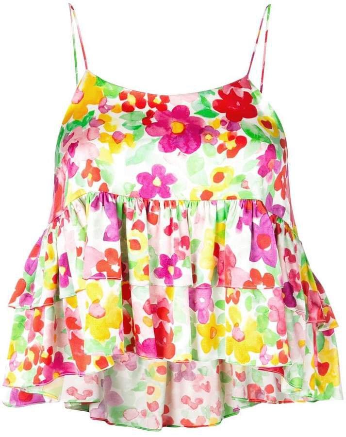 floral ruffle tank top