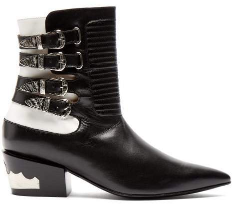 Buckled Leather Ankle Boots - Womens - Black White
