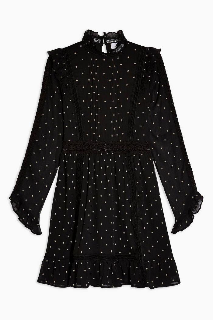 Black Dobby Spot Mini Dress   Topshop