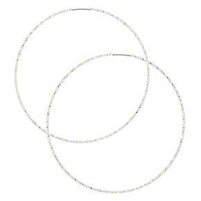 120MM Silver-tone Skinny Hoop Earrings | Claire's US