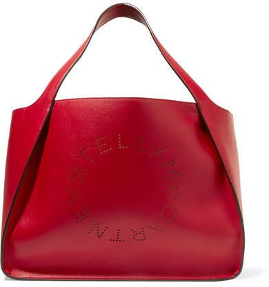 Perforated Faux Leather Tote - Red