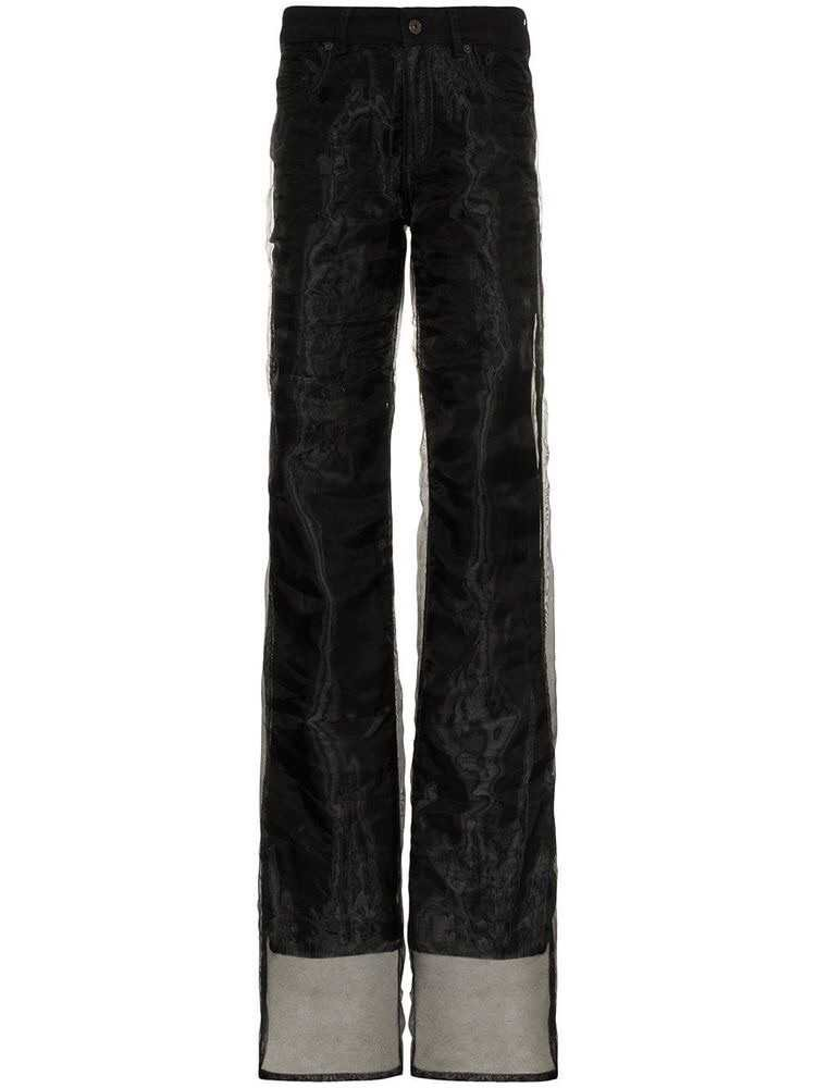 Y/Project straight leg chiffon layered jeans - Black