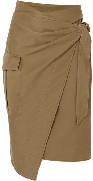 Giulia Cotton-twill Wrap Skirt - Army green