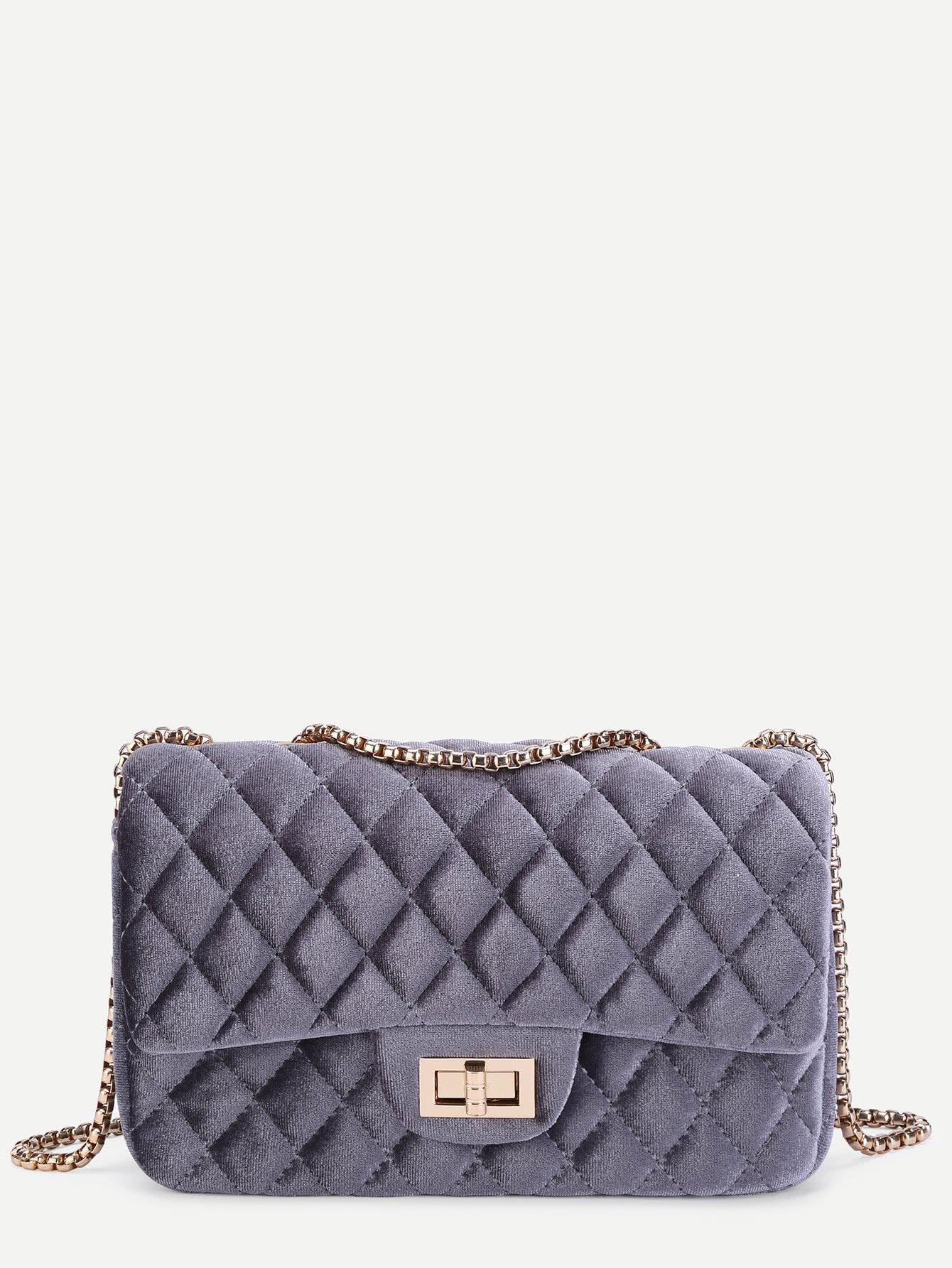 Twist Lock Quilted Velvet Chain Bag