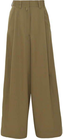 Pleated Wool Wide-leg Pants - Army green