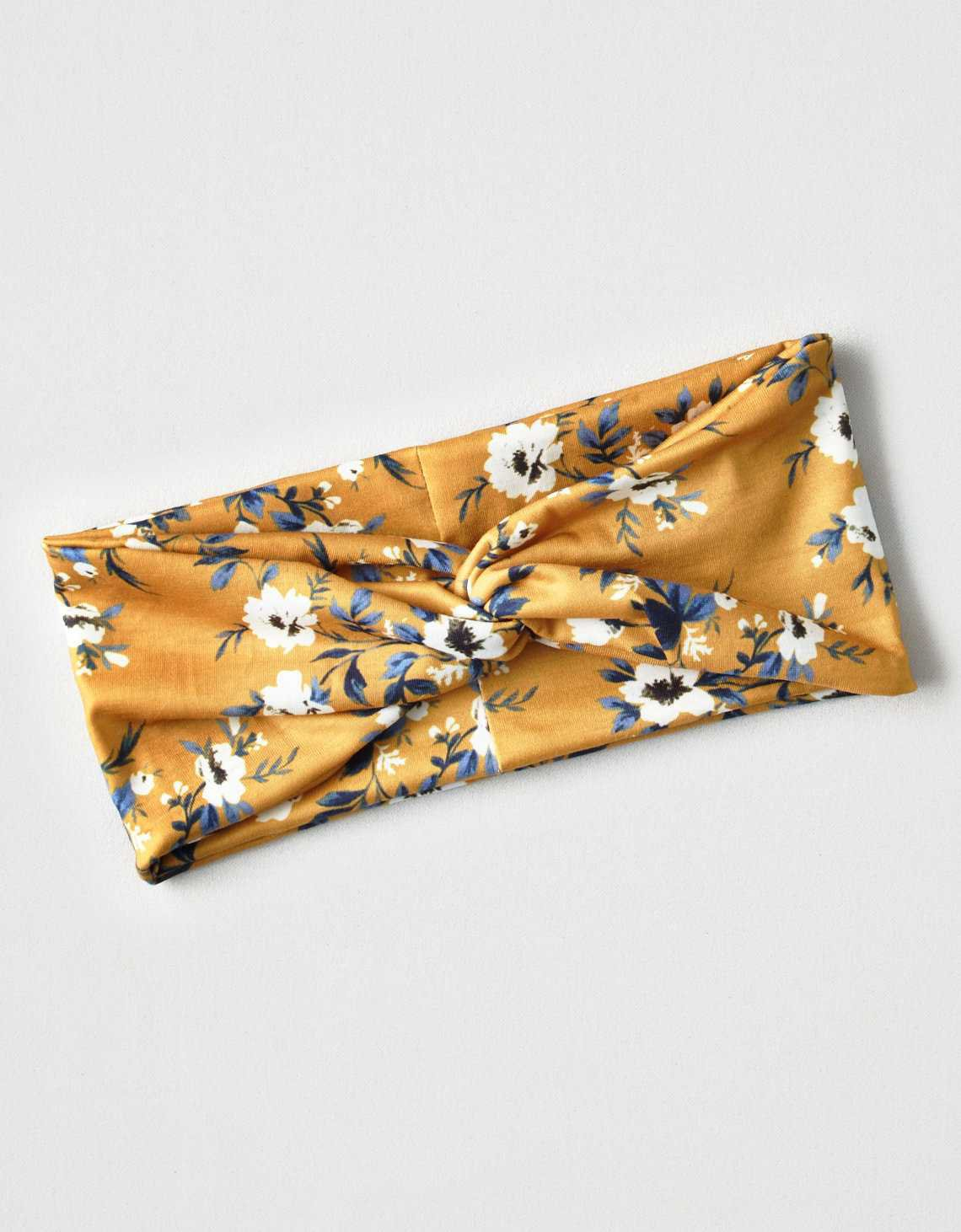 AEO Twisted Floral Headband, Mustard | American Eagle Outfitters